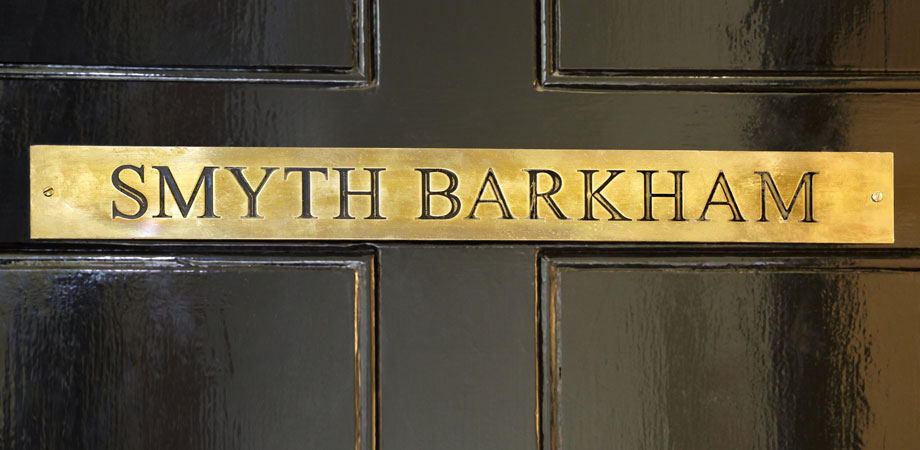 Smyth Barkham brass door sign